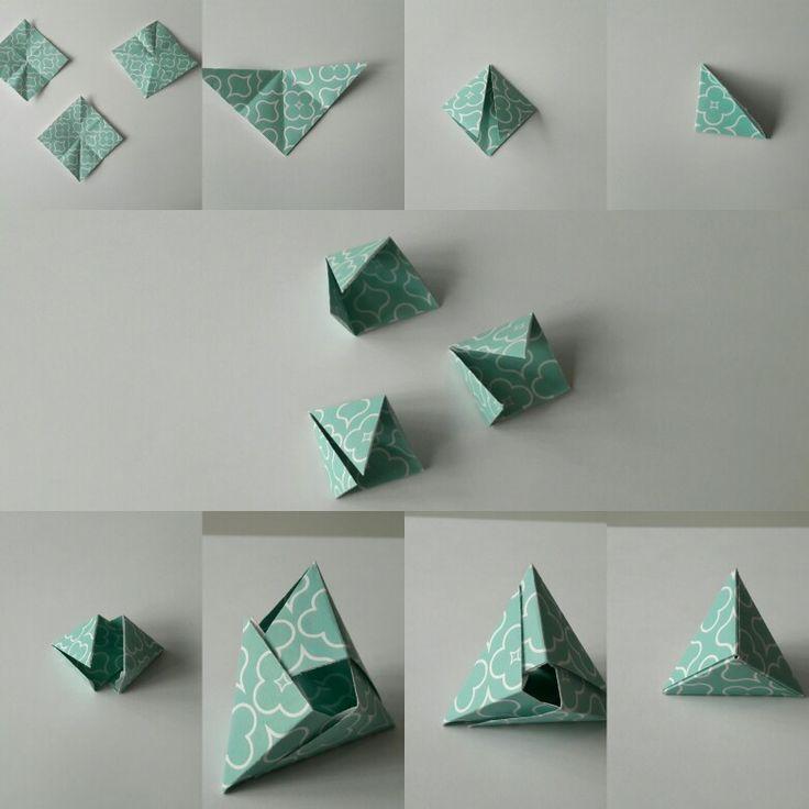 Origami Tuto der Mittagspause 3 Felder. .. 3 Minuten und hier ist meine Fox Box oder Pyramide Mod