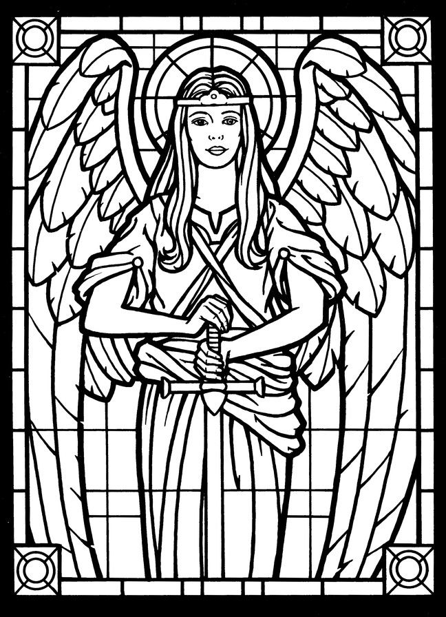 Amazing Angels Stained Glass Coloring Book With Images Angel