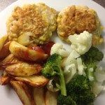 Sweetcorn fritters, wedges & peas, 30p a serving