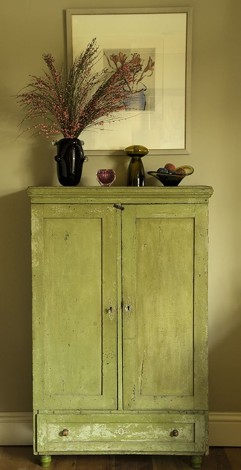 vintage painted wooden cabinet.