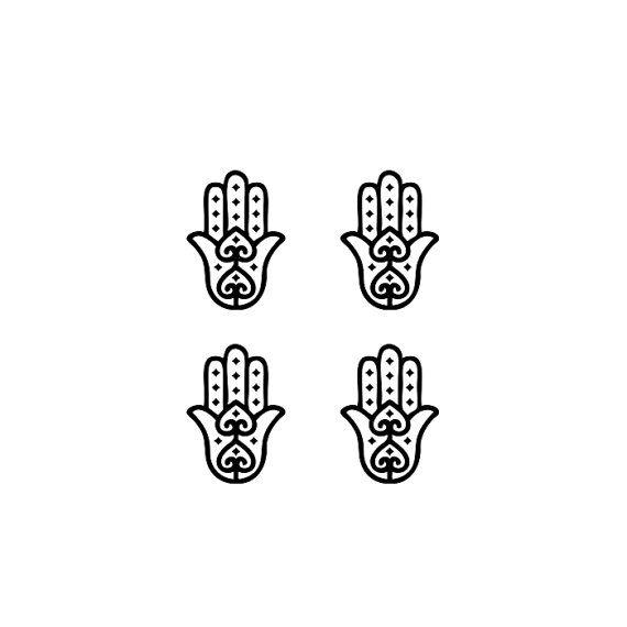 Conjunto de 4 pequeñas Fatima Hamsa mano temporal tatuaje