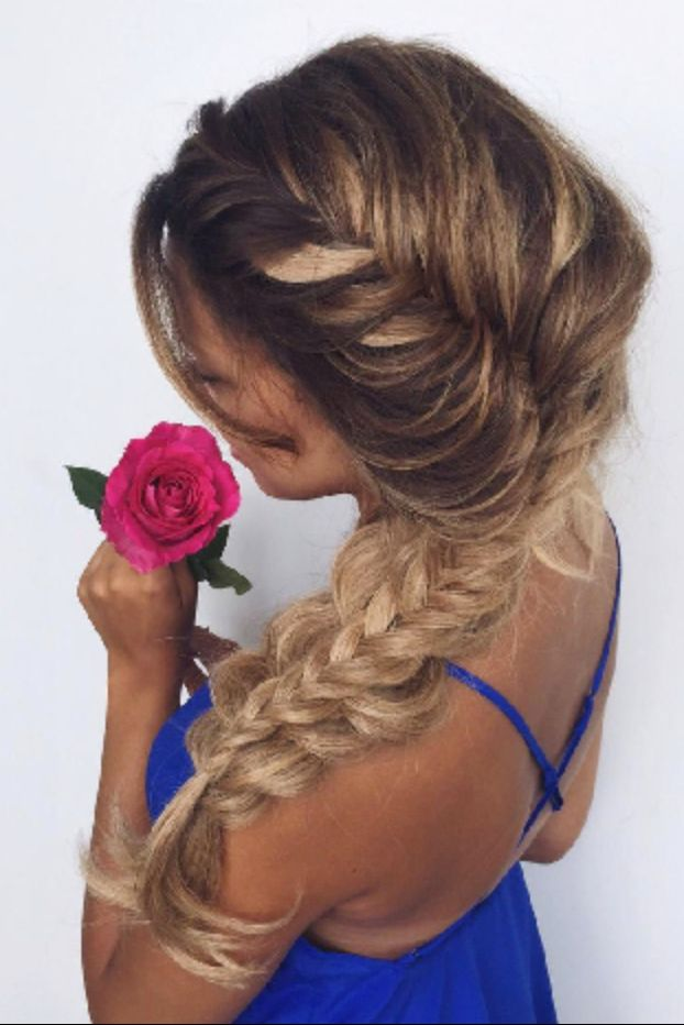 Romantic Dutch Fishtail #luxyhair Braid on @ashleyymari3 who is wearing her Dirty Blonde #LuxyHairExtensions for length and volume.