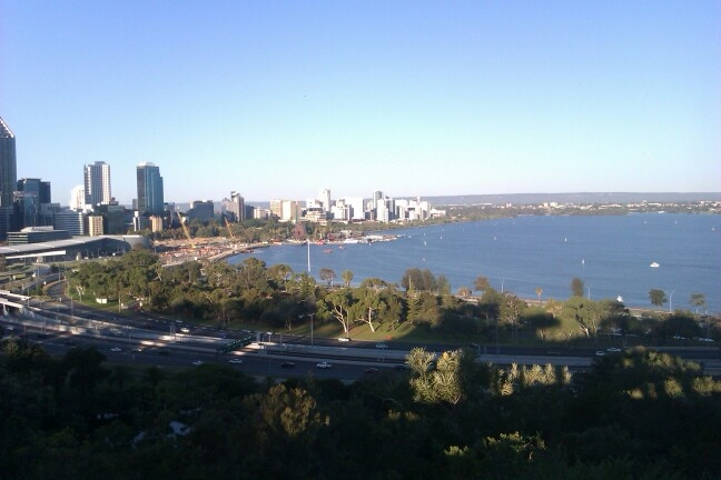 This is the view of the CBD of Perth from Kings Park