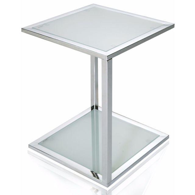 Comforium Petite Table D Appoint En Verre De Forme Carree Table