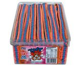 A bulk 1.4kg resealable tub of TNT Sour Straps Bubblegum straps.