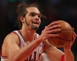 Joakim Noah #13 of the Chicago Bulls shoots a free throw near the end of the game against the Brooklyn Nets in Game Three of the Eastern Conference Quarterfinals during the 2013 NBA Playoffs at the United Center http://www.fansedge.com/Joakim-Noah-Chicago-Bulls-Quarterfinals-Game-3-4252013-_-955241383_PD.html?social=pinterest_pfid77-35264