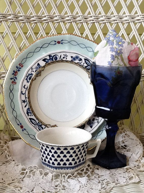 Mismatched China Wedding Tableware Eclectic by FancifulTableware, $49.99
