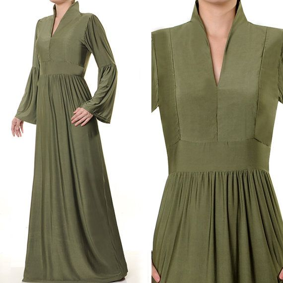 2467 Olive Green Stand Up Neck Islamic Abaya Long by MissMode21