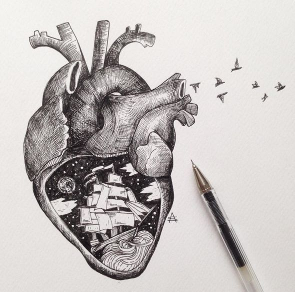 Tattoo idea. Anatomical heart.