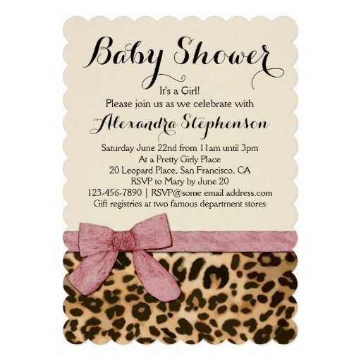 Leopard Print pattern with light pink Bow for a Girl Baby Shower Invitation Sweet, feminine female girly  fashion, modern style with scalloped shaped edges. Shades of gold and black leopard or cheetah wild animal safari theme is chic and classy.