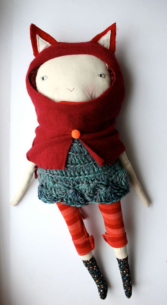 . girl in a fox costume disguise , woodland whimsical inspired plushie doll design can use upcycled or fabric scraps