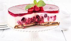 Rezept: Leichte Low Carb Quark-Sahne-Torte mit Kirschen - kohlenhydratarm, kalorienarm, ohne Zucker und Getreidemehl