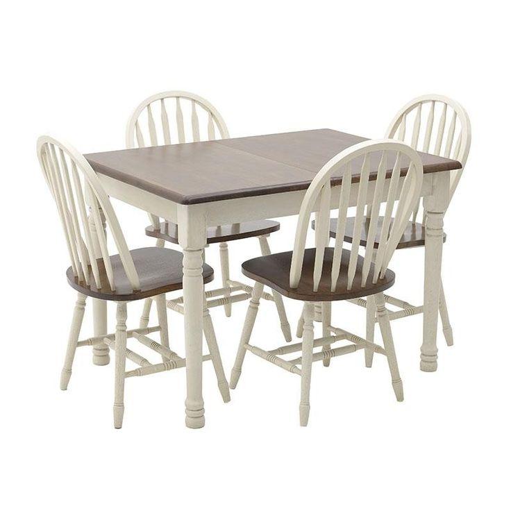 Ένα μοναδικό σετ τραπεζαρίας, σε κλασικό country σχεδιασμό, κατασκευασμένο από ξύλο με λευκή-ιβουάρ βάση και καφέ επιφάνεια. Το τραπέζι έχει δυνατότητα επιπλέον προέκτασης. Στο σετ συμπεριλαμβάνονται τέσσερις καρέκλες.