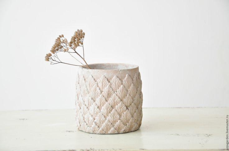 Купить Бетонный горшок с текстурой Листья в стиле Прованс, Кантри - кашпо для цветов, комнатные цветы