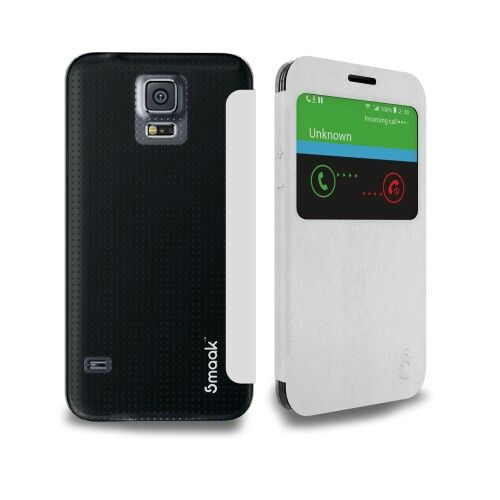 Smaak™ Funk Flip Slim View Flip Case for Samsung Galaxy S5 - White/Clear.  For more info visit http://ismaak.com