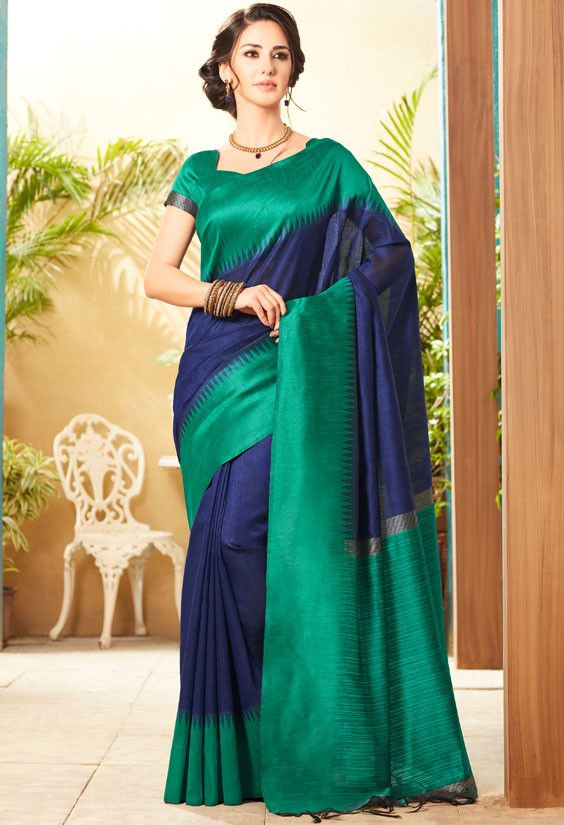 5506c2cbb5 Navy Blue and Rama Green Jute Silk Saree with Double Blouse | Silk ...