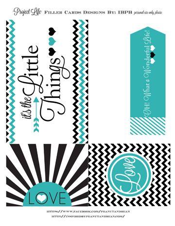 Printable -- Black & White Word Art Filler Cards