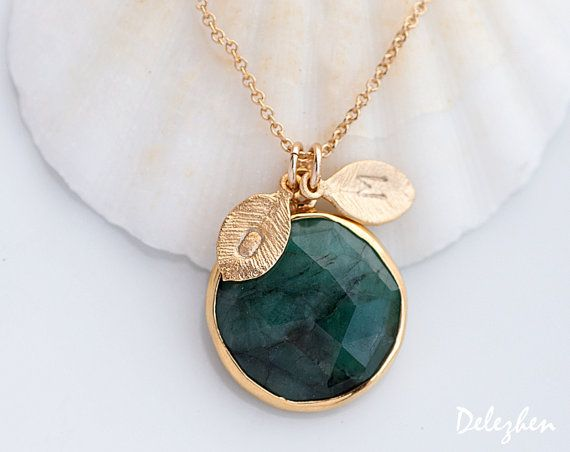 Raw Emerald Necklace - May Birthstone Personalized Necklace - Customize Initials Necklace - Gemstone Necklace - Gold Necklace
