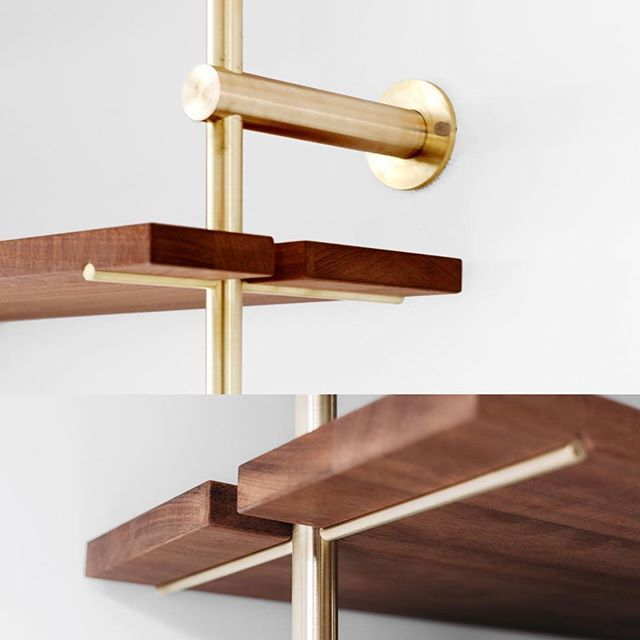 This modular #shelving unit by @objectinterface is made from sapele wood and unfinished #brass.