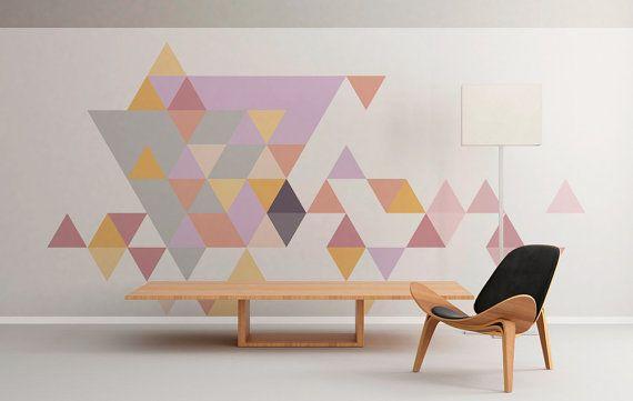 Geometrico - metà secolo - triangoli - pastelli - Wall Art - Floor Graphics - Wall Decal - autoadesivo della parete - buccia e bastone - SKU:TriPastFL