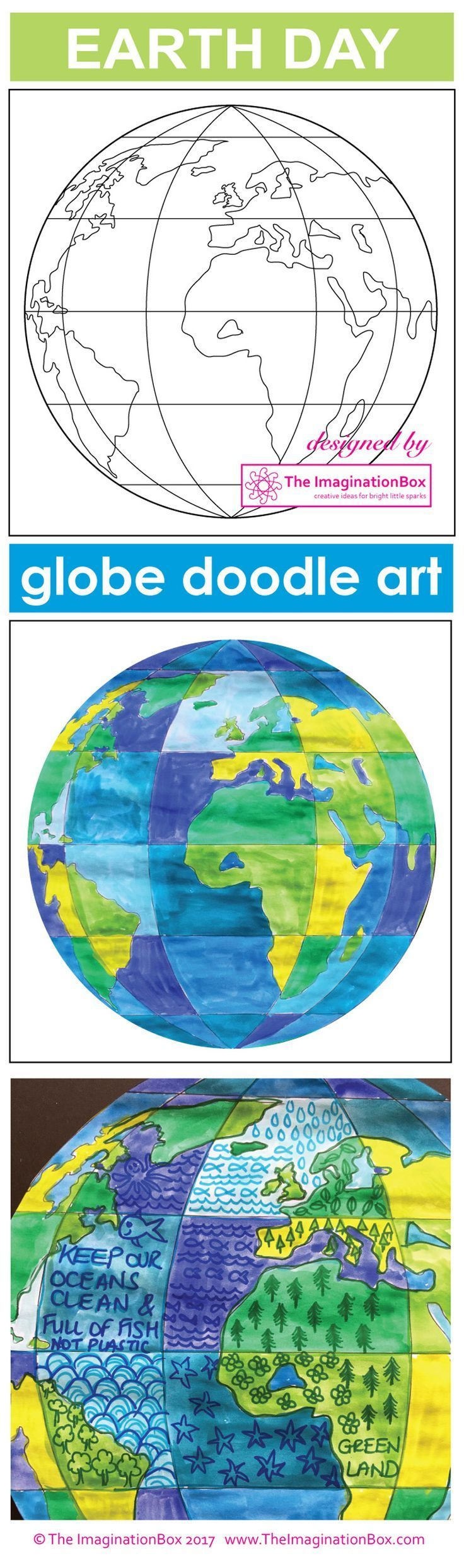 Celebrate Earth Day and bring creativity and color to your classroom with this globe doodle art and poster resource. The globe art activity has been designed in sections so that students can experiment with using shades of greens for landmass and shades of blue for the ocean and then doodle over the finished artwork with words and symbols to create imaginative, original and modern artworks.