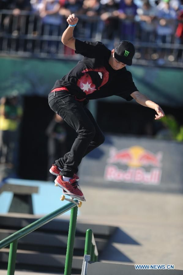 Nyjah Huston at X-games 2013 and he is wrecking the comp at 2014 right now with a 95.00!