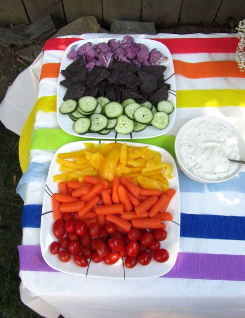 Rainbow veggie tray...tomatoes or red bell pepper, carrots, yellow bell pepper, cucumbers (with skin on), blue corn chips, purple cauliflower