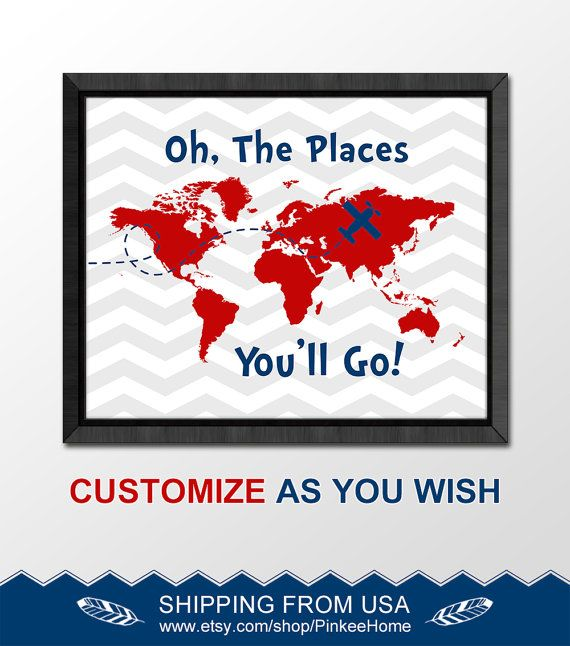 182 best dr seuss nursery oh the places you will go world map navy red travel nursery adventure kids playroom wall art oh the place youll go gumiabroncs Image collections