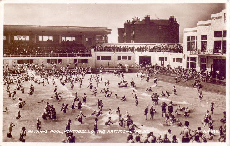 Portobello Open-Air Swimming Pool, 1936. by Robert  Via Flickr:  The pool, with heated sea water, at the peak of its success. Loads of spectators watching the bathers enjoying the waves created by a paddle machine. Source: flickr.com #''portobello #outdoor #swimming #pool'' #edinburgh #scotland #''wave #machine'' #''heated #sea #water''