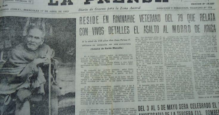"""D iario """"La Prensa"""", Osorno 17 de Abril de 1963 Un """"niño de Osorno"""" dio la voz de """"Al morro compañeros"""" y la tropa chilena se lanzó e..."""