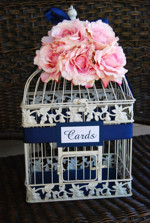 Custom Large Wedding Birdcage Card Holder Money Holder - Navy & Light Pale Pink Blush on Etsy, $65.00