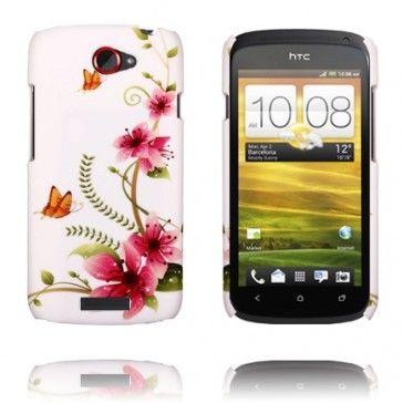 Valentine (Rosa Blommor - Orange Fjäril) HTC One S Skal