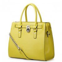 Urocza skórzana torba Żółta