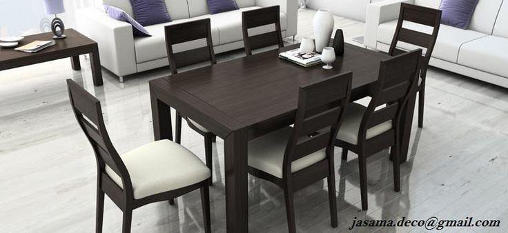 Conjunto #Mesa  #Comedor de #madera (diferentes medidas), 140(200)x90x77h. con 6 #sillas a juego...precio oferta 995€
