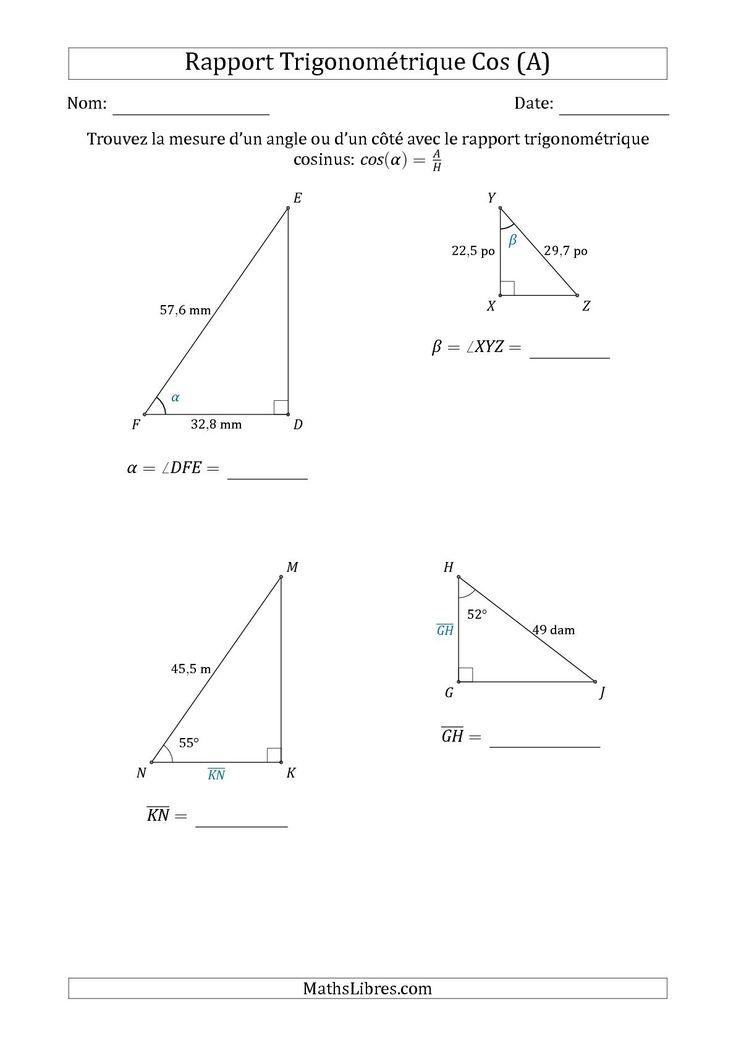La calcul de la mesure d 39 un angle ou d 39 un c t avec le for Marche d angle calcul