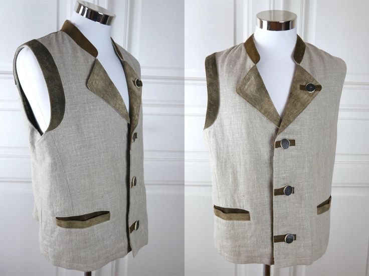 German Vintage Trachten Vest, BeigeLinen Brown Leather Traditional Bavarian Waistcoat, Octoberfest German Clothing: Size 44 US/UK, XL by YouLookAmazing on Etsy
