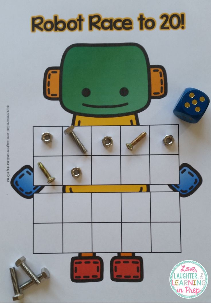 Robot Race to 20! A FREE counting game for your little learners. https://www.teacherspayteachers.com/Product/Robot-Race-to-10-or-20-A-ten-frame-counting-game-for-your-little-learners-2579793