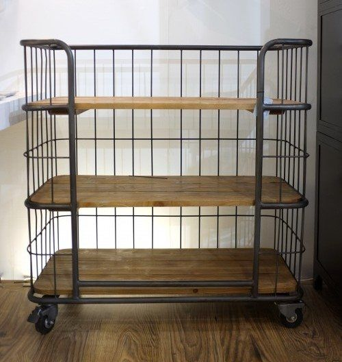 Industrial style shelving on trolley wheels. These smaller versions of our large units have plenty of storage space and look equally good as a single unit or a pair. 940 width x  500 depth x 965 height,mm Delivery: Free local delivery / collection - for Nationwide please add delivery at checkout.