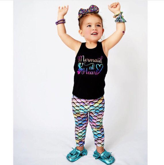 Rainbow Mermaid leggings Preorder  baby by LacedWithLoveShop