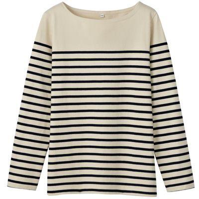 オーガニックコットン太番手パネルボーダー長袖Tシャツ 婦人S・生成×ボーダー   無印良品ネットストア
