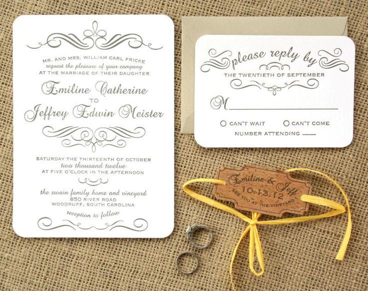 Vintage Calligraphy Letterpress Wedding Invitation, Grey, White, Kraft Paper, Cork, Rustic. $7.00, via Etsy.