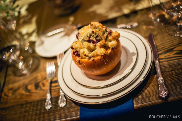 Spice of Life Catering at the Vermont Wedding Affair: Roasted Sugar Pumpkin Mac & Cheese with goat cheese, cranberries, caramelized onion, bacon & duck confit.