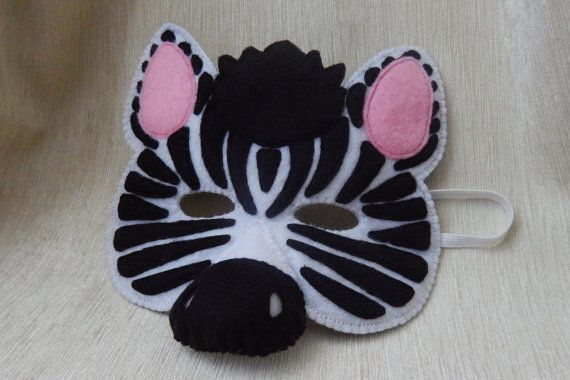 Zebra - felt mask. Zebra mask for children. Felt mask. Zebra mask. Halloween mask. Party mask.