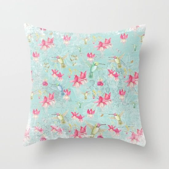 Vintage Watercolor hummingbird and Fuchsia Flowers on mint Background Throw Pillow