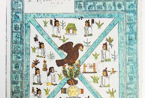 Códice Mendocino, manuscrito mexicano del siglo XVI. México-Tenochtitlán se fundó en el momento en que los pobladores de Aztlán se encontraron, un 13 de marzo de 1325, con el águila posada sobre un nopal devorando una serpiente, tal como lo había augurado su dios Huitzilopochtli; sin embargo, esta historia nunca sucedió.