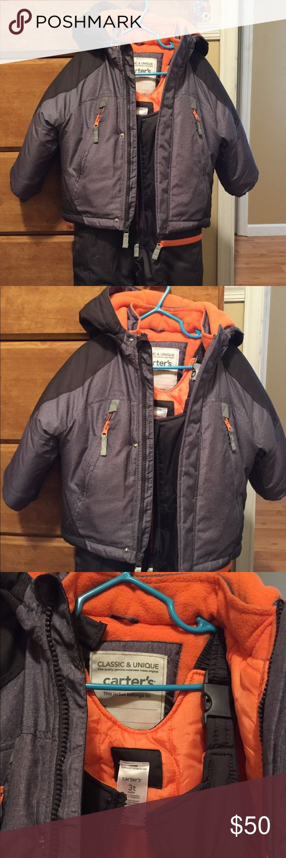 Carter's snow bib and coat 2 piece set 3T Very nice like new! Carter's 3T snow bibs and coat set. Very warm and in perfect condition. Feel free to ask any questions or make me an offer! Carter's Jackets & Coats
