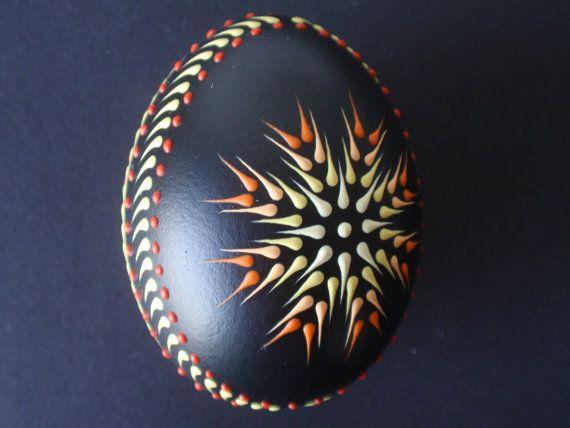 Chicken Egg Pysanka Ornament Wax Embossed Pysanka by EggstrArt