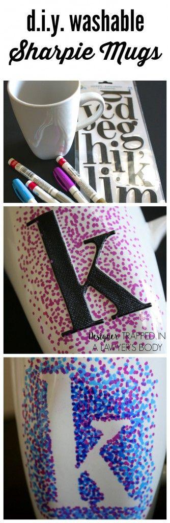 mit Porzellanstiften verzierte Tasse: Buchstaben