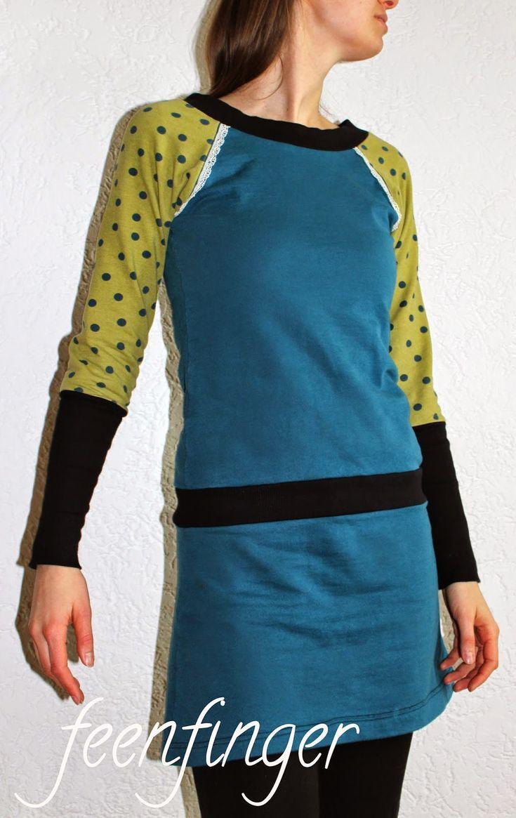 Auf der Suche nach einem Schnittmuster für einen schlichten Pullover bin ich über diesen Schnitt von allerlieblichst gestolpert. Raglan-Är...