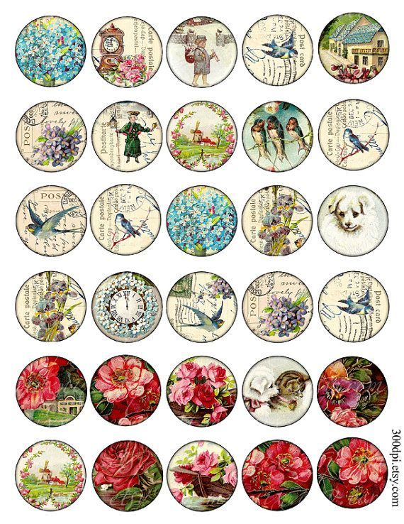 1.5 inch circle images round Vintage Printable Download by 300dpi, $3.75